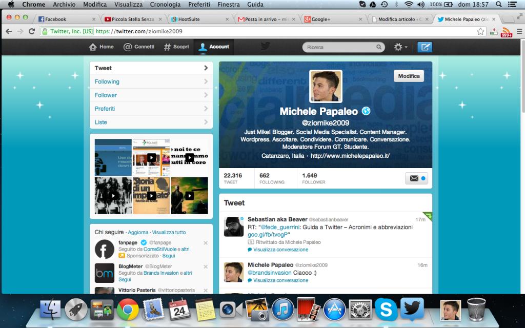 Twitter scheda profilo