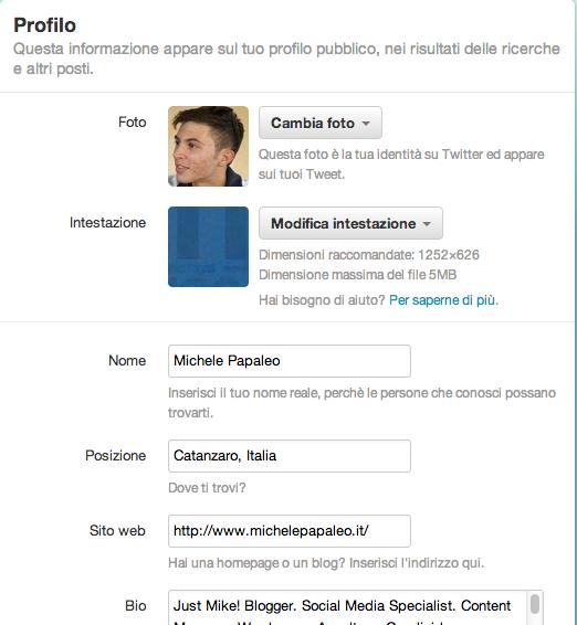 Twitter modifica Profilo
